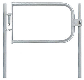 Fabricated Safety Gate & 2 Posts - L/H 33.7mm Tube - Self Closing