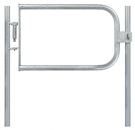 Fabricated Safety Gate & 2 Posts - L/H 42.4mm Tube - Self Closing