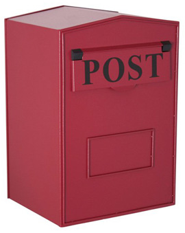 industrial metal post box red